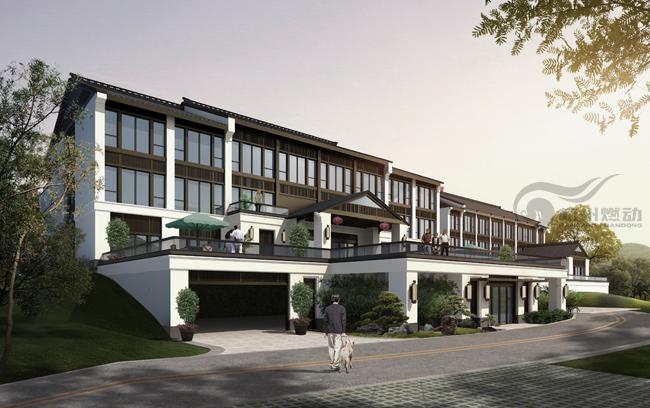 现代新中式风格酒店&会所建筑效果图