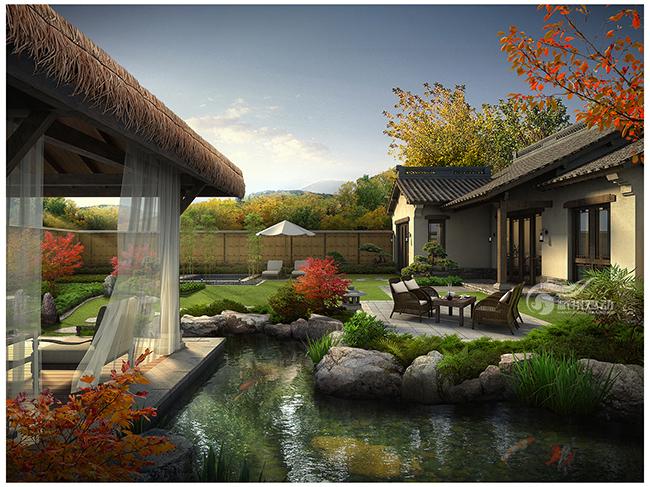 中式庭院景观效果图制作(秋景)_杭州炫动视觉设计